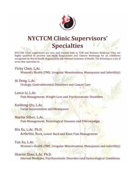 New York College of Traditional Chinese Medicine > Clinic